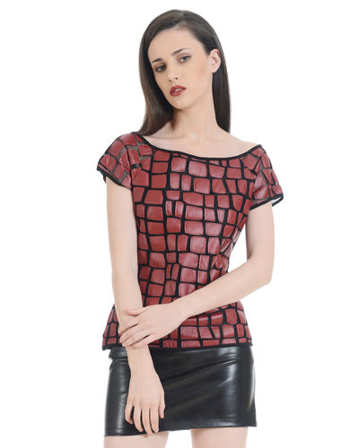 Faux Leather Laser cut Top