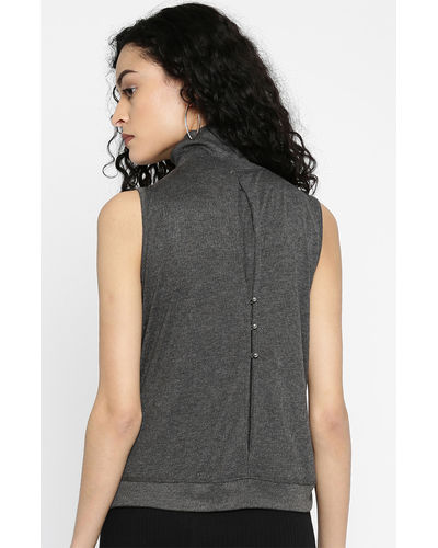 Charcoal Turtle Neck Sleeveless Top
