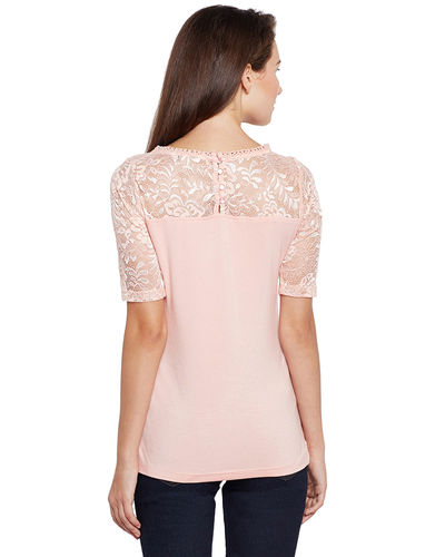 Powder Pink Lace Top