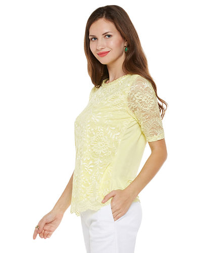 Sunray Yellow Lace Top