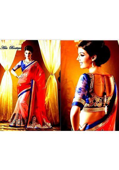 Designer Net Saree with shading on georgette Pallu