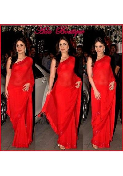 Kareena Kapoor Red Chiffon Saree