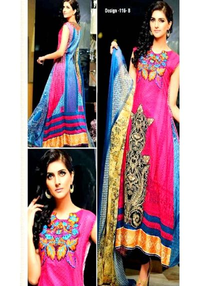 Pink Embroided Pakistani Lawn