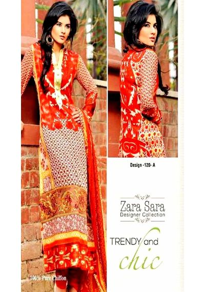 Trendy Red Embroided Pakistani Lawn