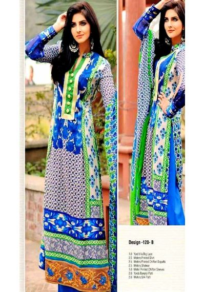 Trendy Blue Embroided Pakistani Lawn