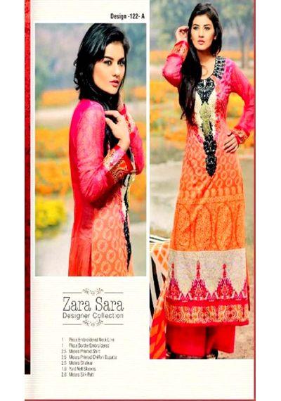 Pink /Orange Embroided Pakistani Lawn