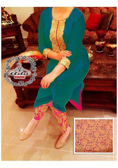 Stylish Peacock Green/ Pink Dress