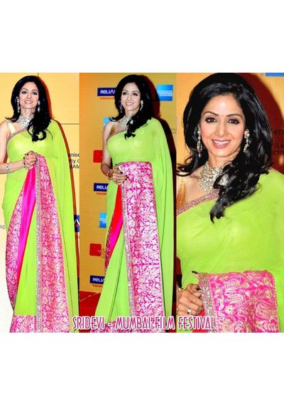 Sizzling Sridevi Green Saree