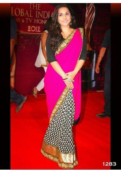 Vidhya Balan Black / Pink  Saree