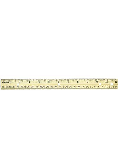 """Wood Ruler Metal Edge 12"""""""