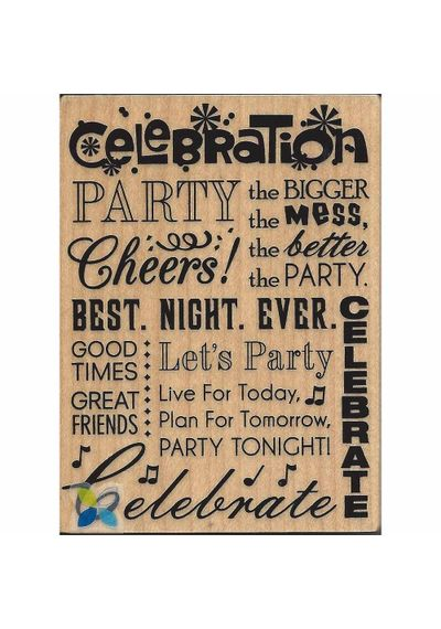 """Celebrate"" Rubber Wood Stamp"