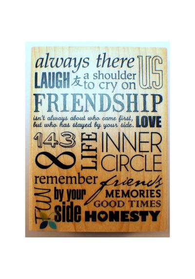 Friendship Collage Words Writing Quote Wooden Stamp