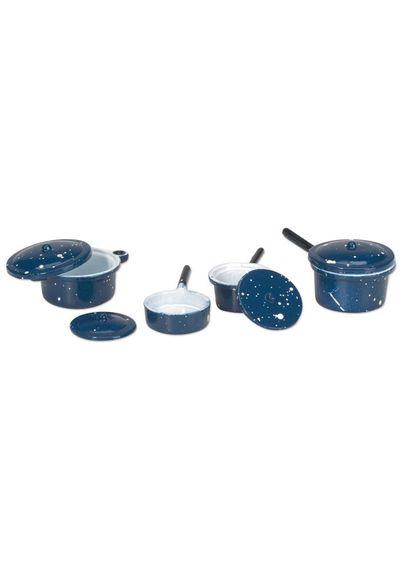 Blue Pots & Lids 4/Pkg - Miniature