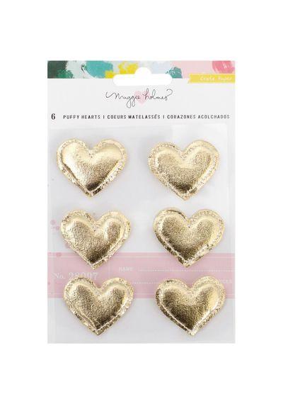Puffy Hearts Gold Foil 6/Pkg