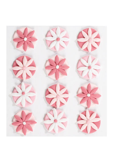 Pink Fondant Flowers 3D Stickers