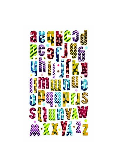 Colorful Patterned Metallic Alphabet Stickers