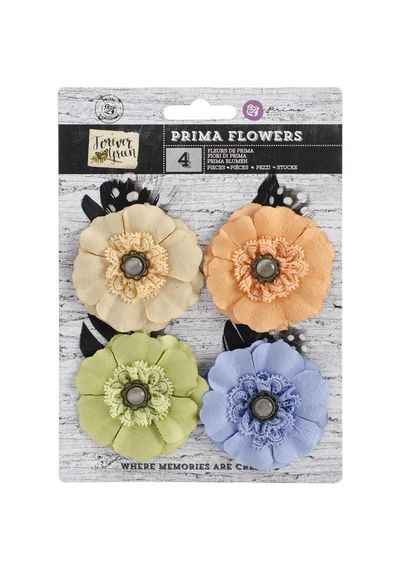 "Paper & Fabric Sprout Flowers 2.25"", 4/Pkg"