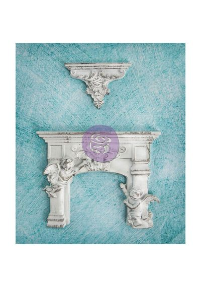 Cherub Fireplace & Shelf 2/Pkg - Resin Embellishments