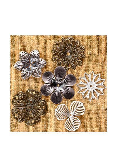 "Medium Flowers 1.5"" To 2"", 6/Pkg - Metal Vintage Trinkets"