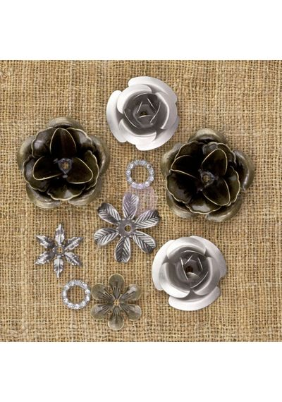 "Roses .5"" To 1"", 9/Pkg - Metal Vintage Trinkets"