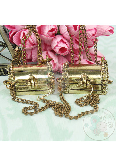 Antique Treasure Box with Long Chain