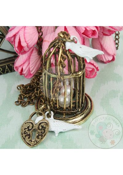 3D Bird Cage with Bird & Chain