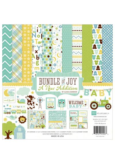 "Bundle Of Joy/A New Addition - Baby Boy Collection Kit 12""X12"""