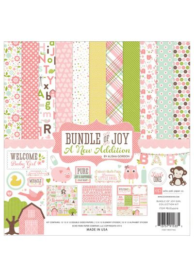 "Bundle Of Joy/A New Addition - Baby Girl Collection Kit 12""X12"""