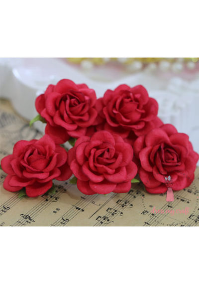 Curved Roses  45 MM - Soft Red