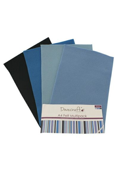 Blue Felt Sheets A4 Multipack