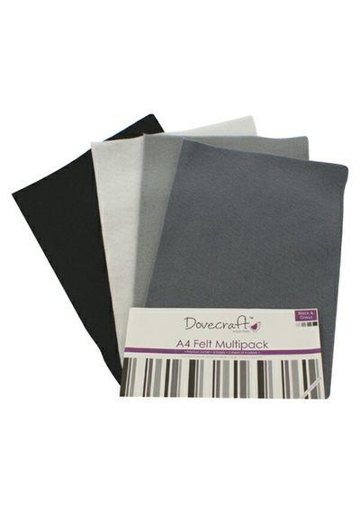 Black Felt A4 Sheets Multipack