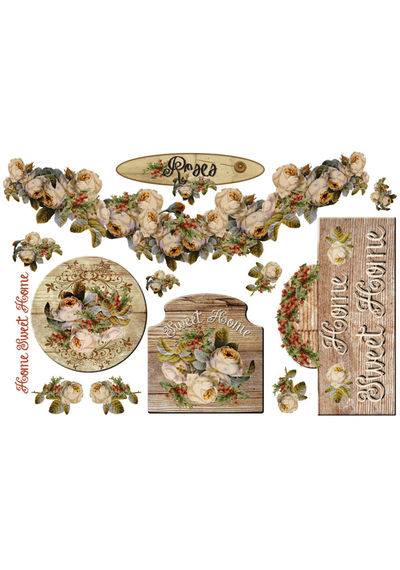 Home Sweet Home Rose - Decoupage Rice paper