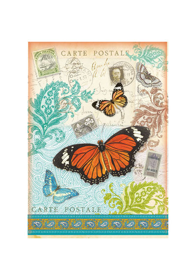 Post card with Butterfly-Decoupage Rice Paper