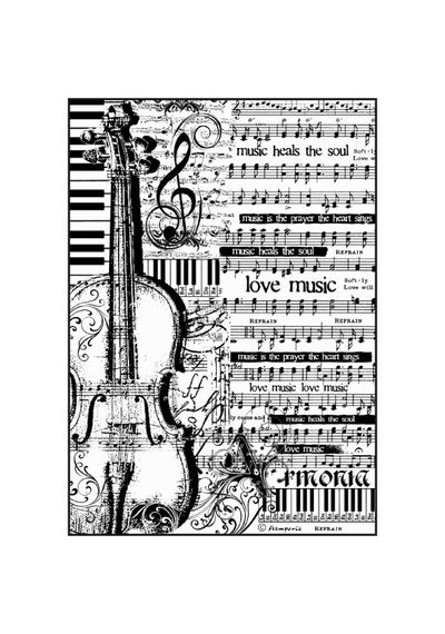 Sheet Music with violin-Decoupage Rice Paper