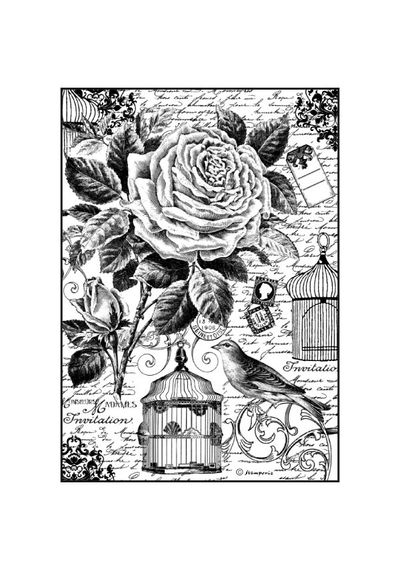 Bird Cage-Decoupage Rice Paper