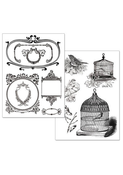 Cages and birds-Transfer Paper B/W