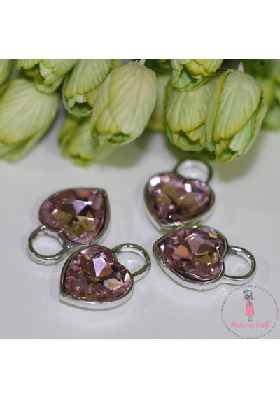 Crystal Heart Charm - Pink