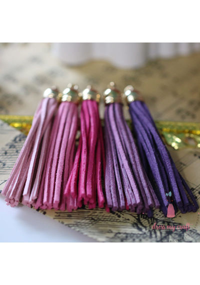 Large Faux Leather Tassel - Pink Family