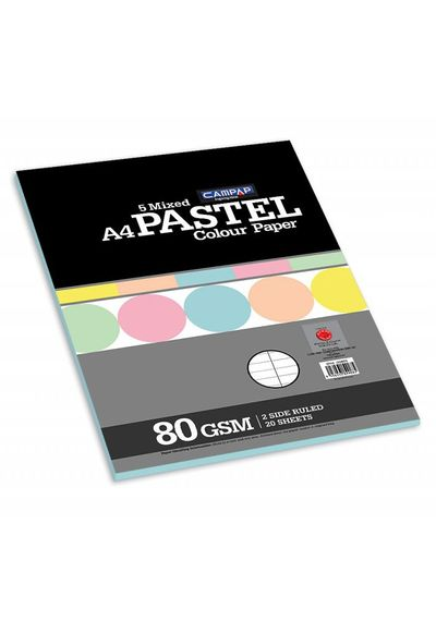 PASTEL COLOUR PAPER /CARD ( 5 MIXED COLOURS, TWO SIDE RULED )