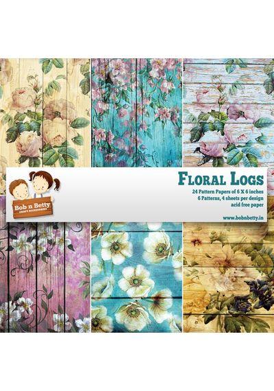 """Floral Logs Paper Pack 6""""X6"""", 24/Pkg"""