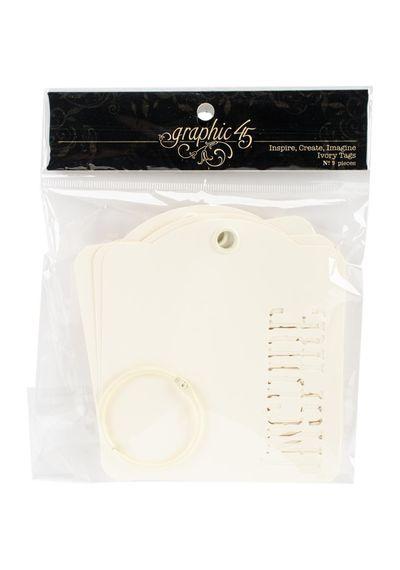 Ivory Inspire, Create, Imagine - Staples Die-Cut Cardstock Tags W/Metal Ring 9/Pkg