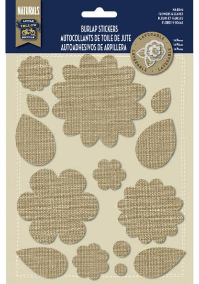 Burlap Stickers - Flowers and Leaves
