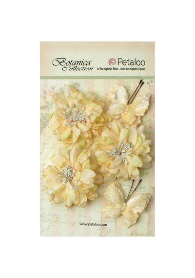 """Ivory - Botanica Mums & Butterflies 2"""" - 2.5"""" 5/Pkg"""