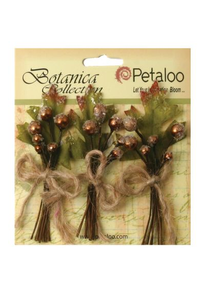 """Brown - Botanica Sugared Berry Clusters 3.25"""" 3/Pkg"""