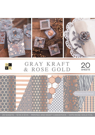 "Gray Kraft & Rose Gold - 12""X12"" Papar Pad"