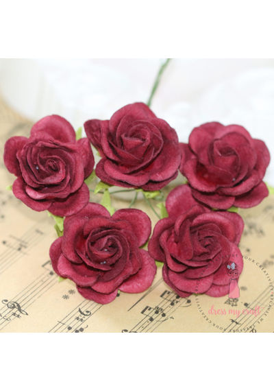 Curved Roses 35 MM - Dark Maroon