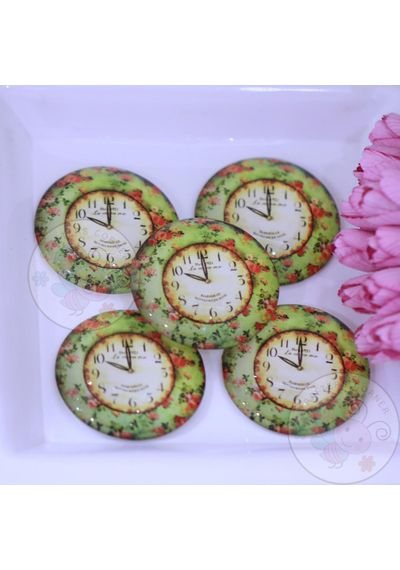 Round Glass Cabochon - Green Floral Clock