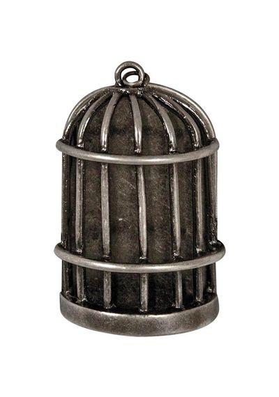 Metal Birdcage with Flat Back - Antique Nickel