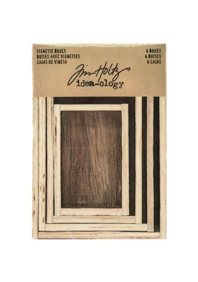 Brown Wooden Vignette Boxes