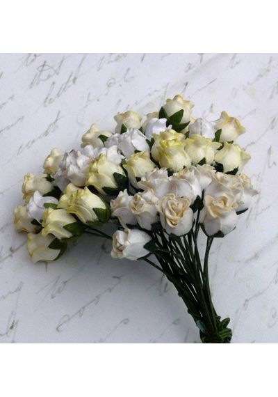 White/Cream Tone - Twisted Rose Buds Combo